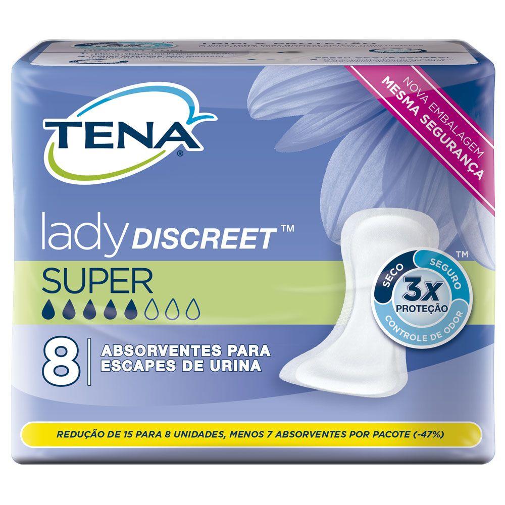 Tena Lady Discreet Super - Absorvente Feminino - Pacote com 8 unidades - Tena