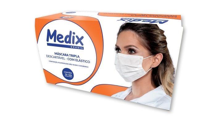Máscara Descartável Tripla Medix - Caixa com 50 unidades