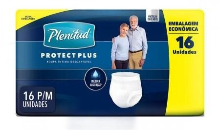Plenitud Protect Plus Unissex P/M - Fralda geriátrica de vestir - Pacote com 16 unidades