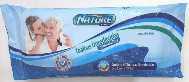 Toalha umedecida Nature - Pacote com 40 unidades - 22,5 cm X 19 cm